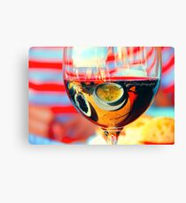 My breakfast is reflected in a glass of dry wine.What is reflects here?? Canvas Print