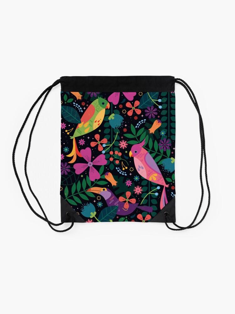 Alternate view of Enchanted Birds  Drawstring Bag