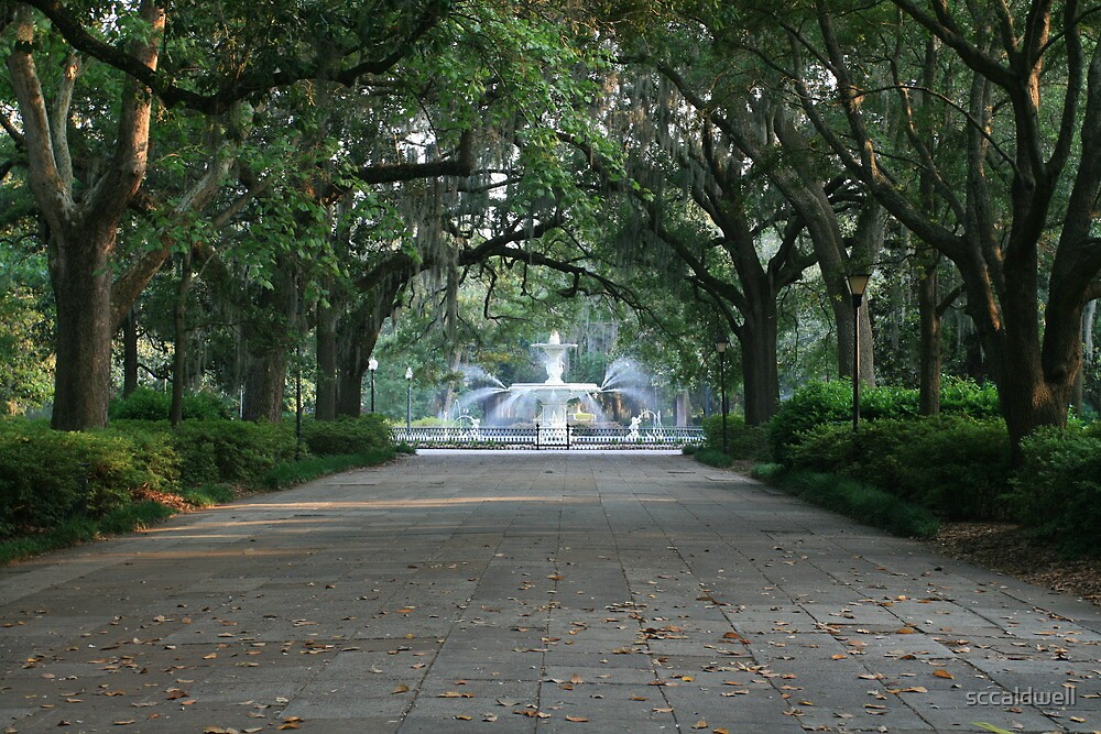 Walkway and fountain in Savannah, Georgia by sccaldwell