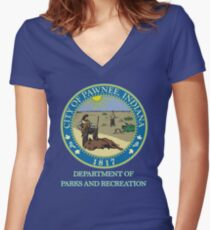 Pawnee Indiana Parks and Recreation Women's Fitted V-Neck T-Shirt