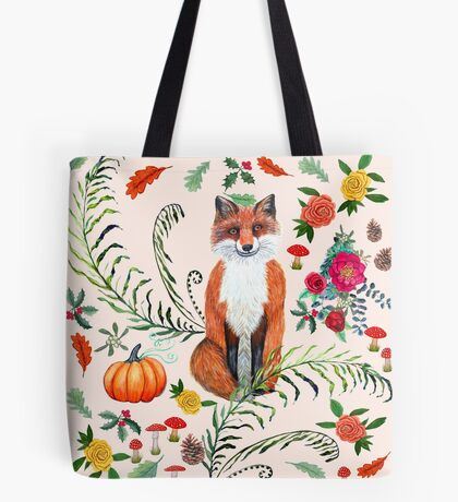 Winter fox with Poinsettia, holly, red mushrooms, pine cones and autumn leaves Tote Bag