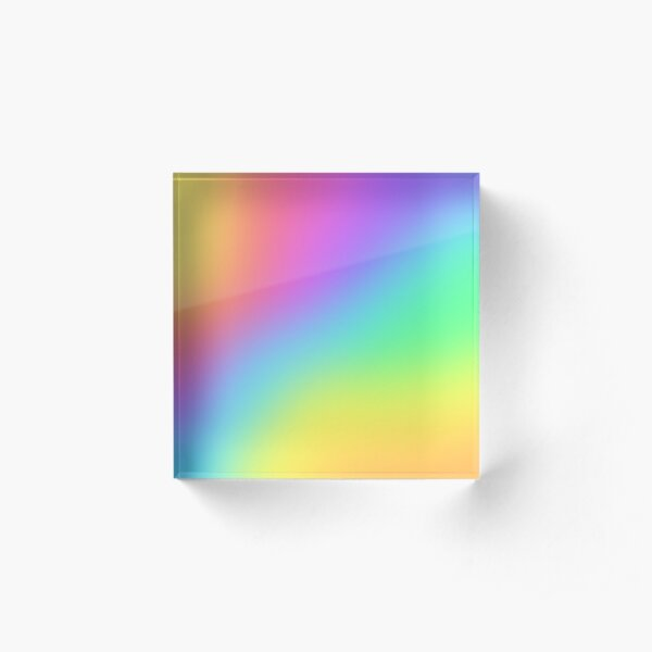 Bright Prismatic Rainbow Ombre Gradient Design Acrylic Block