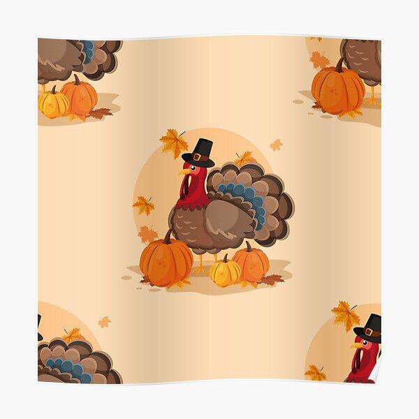 happy thanksgiving pilgrim turkey Poster