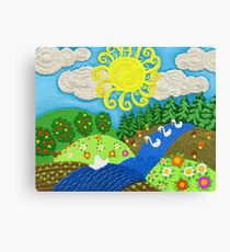 Landscape in the style of Russian fairy tales with blue river Canvas Print