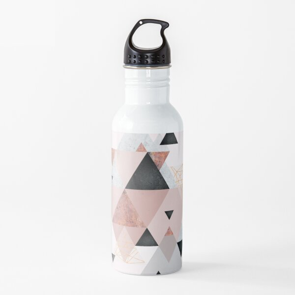 Geometric Compilation in Rose Gold and Blush Pink Water Bottle