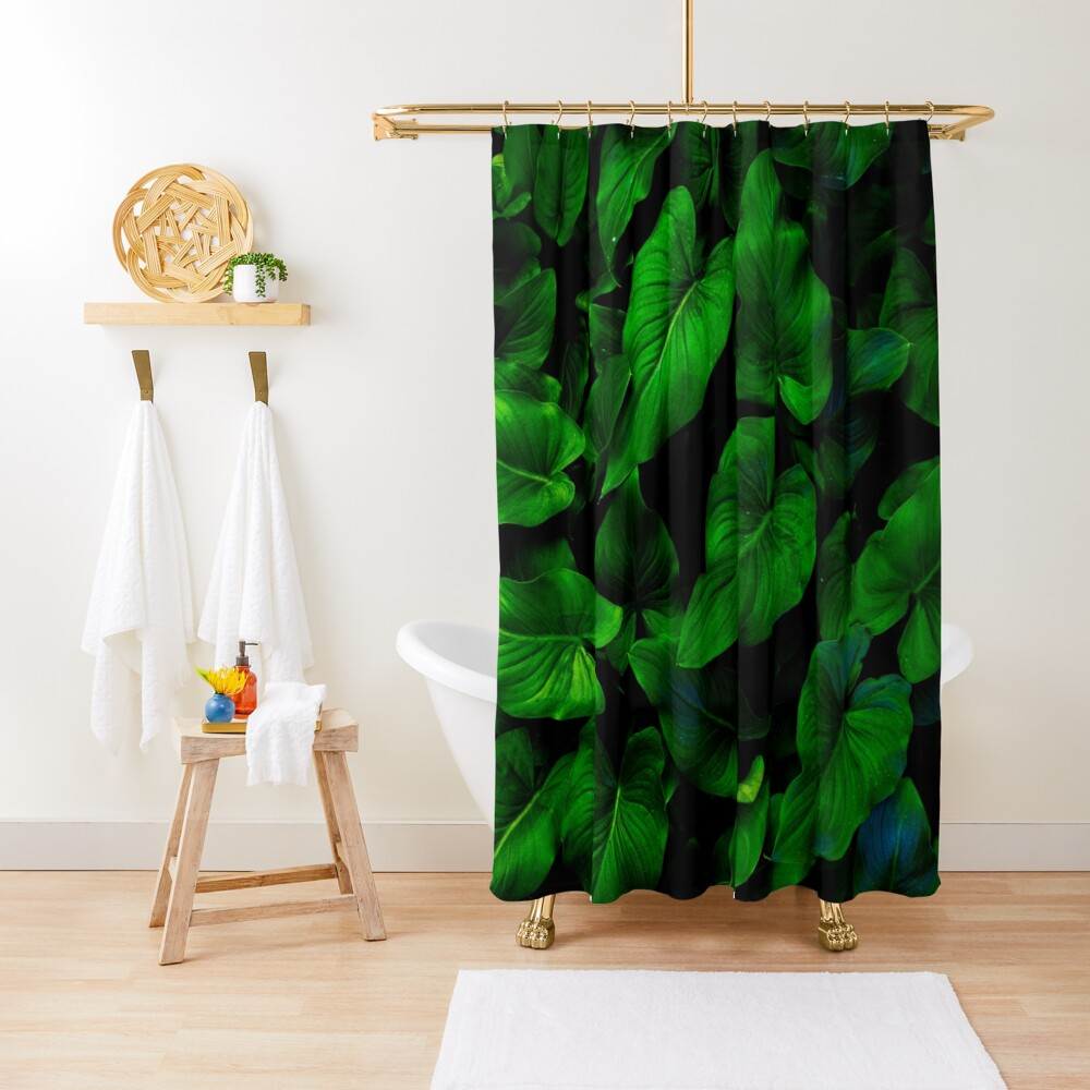 Dark Green Lilly Leaves Shower Curtain