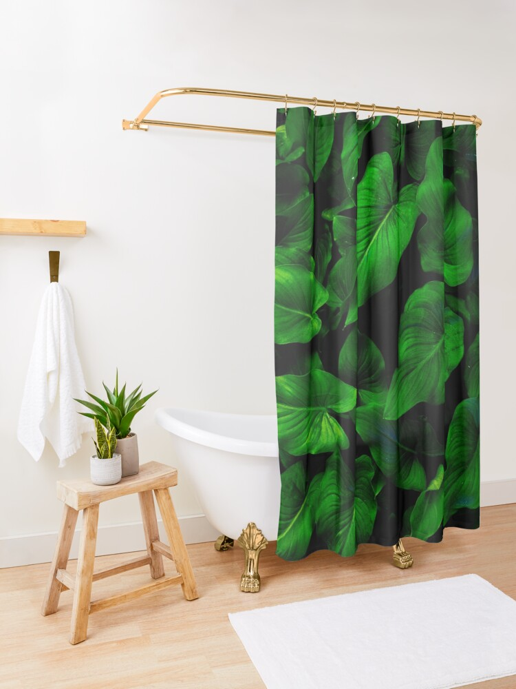Alternate view of Dark Green Lilly Leaves Shower Curtain