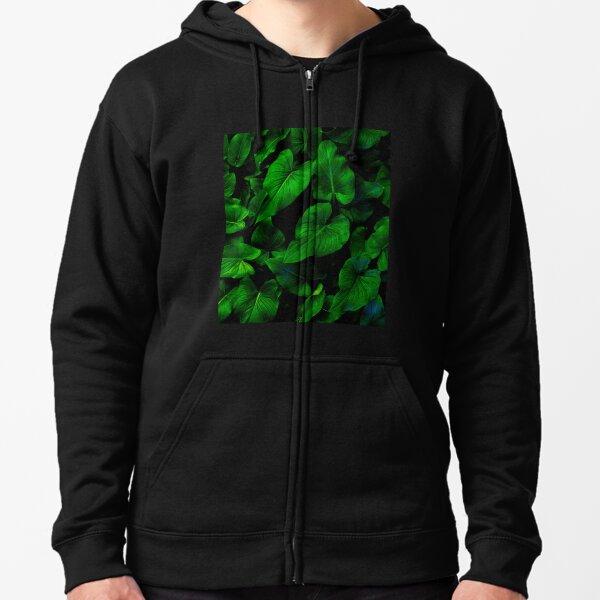 Dark Green Lilly Leaves Zipped Hoodie