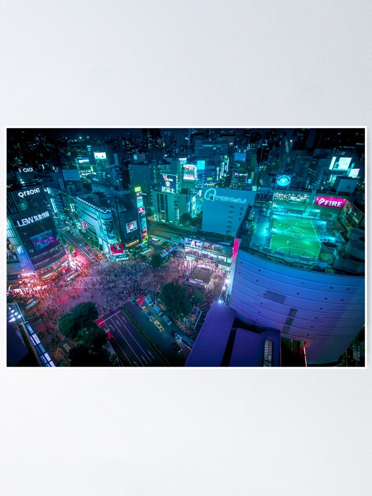 Alternate view of Shibuya crossing from above Poster