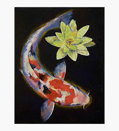 Koi with Yellow Water Lily Photographic Print