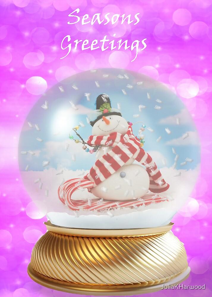 Snowman snowglobe Christmas card by JuliaKHarwood