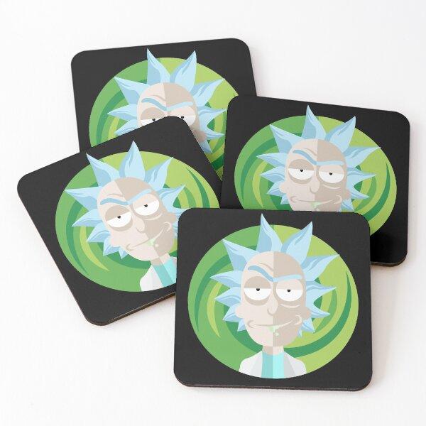 Rick and Morty - Rick Sanchez face Illustration Sticker Coasters (Set of 4)