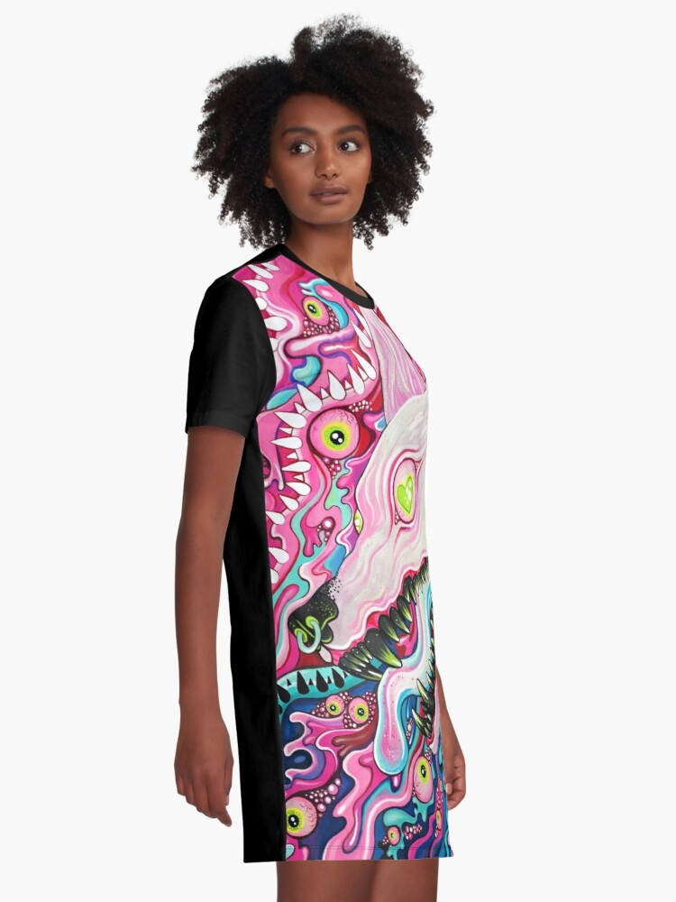 Alternate view of Glitterwolf Acrylic Painting Graphic T-Shirt Dress