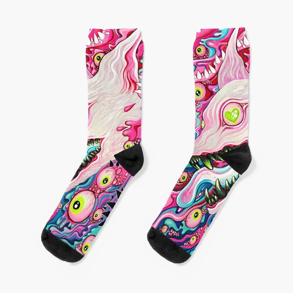 Glitterwolf Acrylic Painting Socks