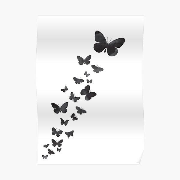 Fluttering butterflies - black & white Poster