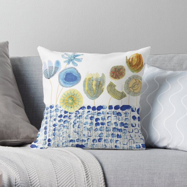 Collage Flower Garden Throw Pillow