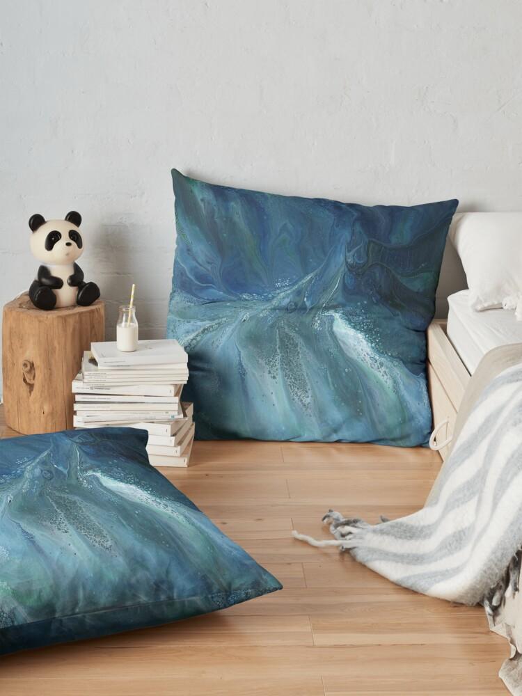 Alternate view of Wave Over Sandbank: fluid acrylic pour painting Floor Pillow
