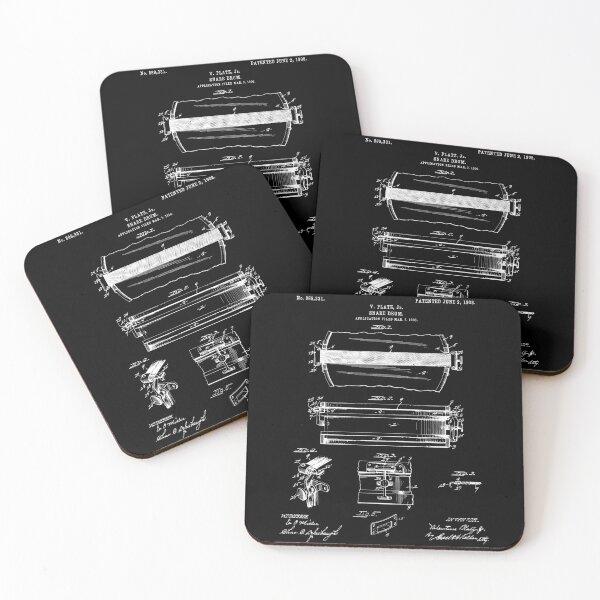 Snare Drum Patent - Black Coasters (Set of 4)
