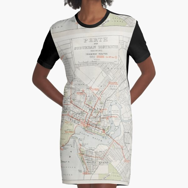 Perth and suburban districts showing tramway routes State Library of Western Australia Graphic T-Shirt Dress