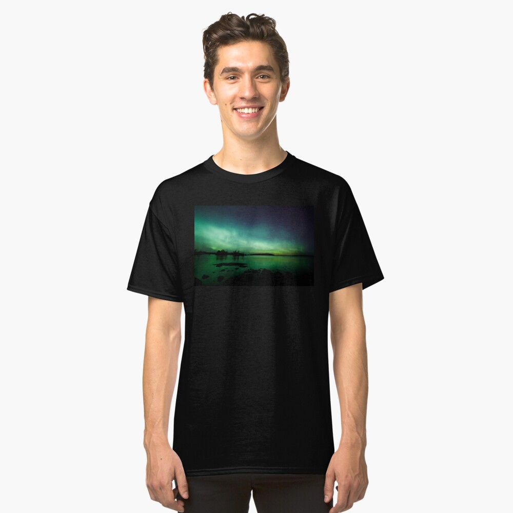 Beautiful northern lights over lake Classic T-Shirt