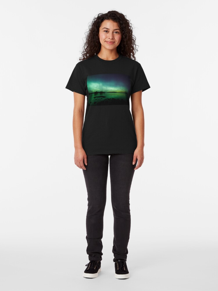Alternate view of Beautiful northern lights over lake Classic T-Shirt