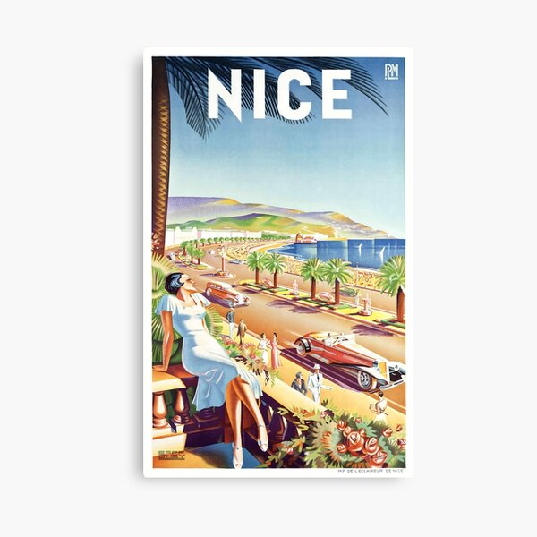 1935 Nice France Travel Poster Canvas Print