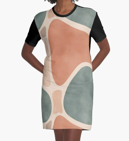 Earth Tones Shapes #redbubble #abstractart Graphic T-Shirt Dress