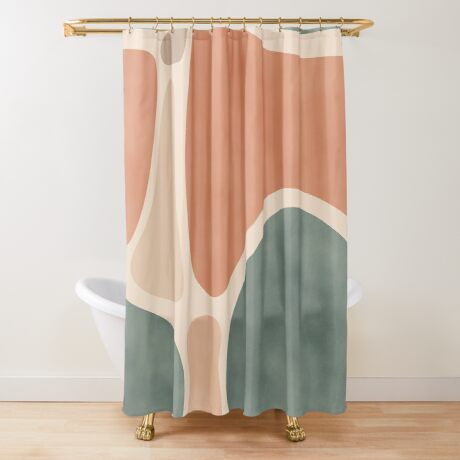 Earth Tones Shapes #redbubble #abstractart Shower Curtain