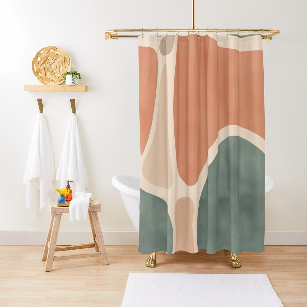 Earth Tones Shapes Shower Curtain