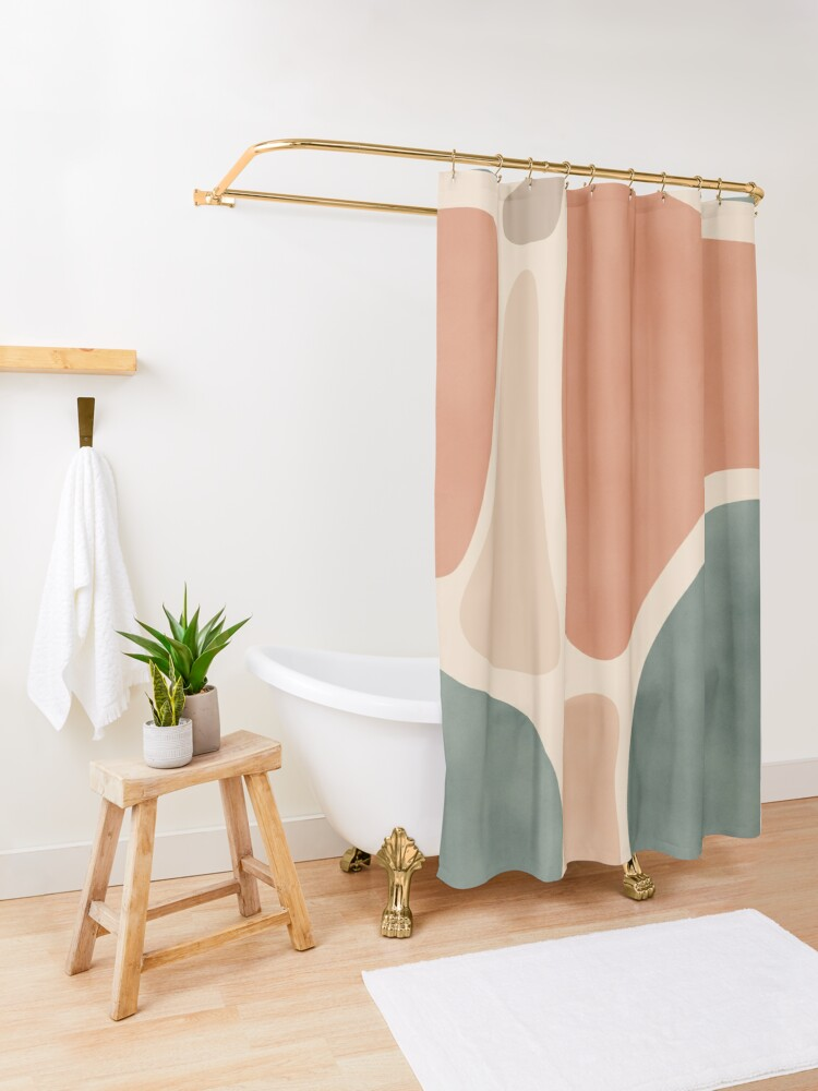 Alternate view of Earth Tones Shapes Shower Curtain