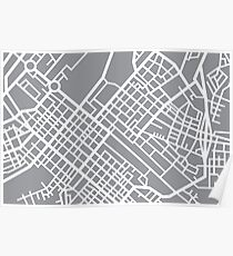 Minimal Maps (Grey) - Cape Town S.A. Poster