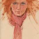 red hair and scarve by djones
