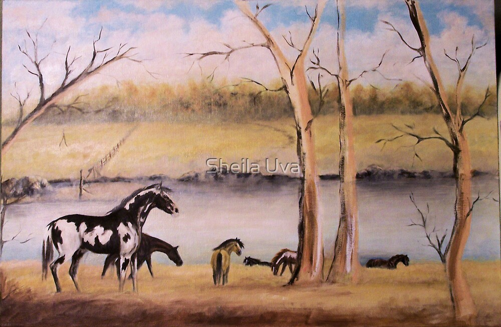 Horses in a Landscape, the starting stages by Sheila Uva