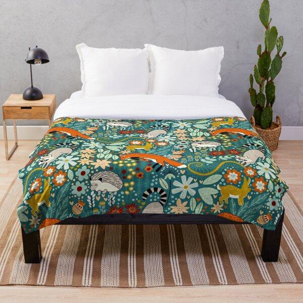Textured Woodland Pattern  Throw Blanket