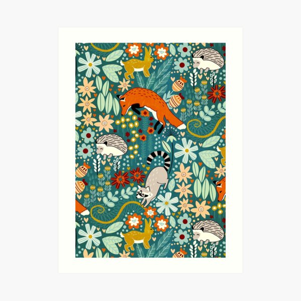Textured Woodland Pattern  Art Print
