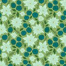 Retro Christmas Floral on Green by carabara