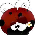Ladybug With Daisy Flower, Ladybird - Red Black by sitnica