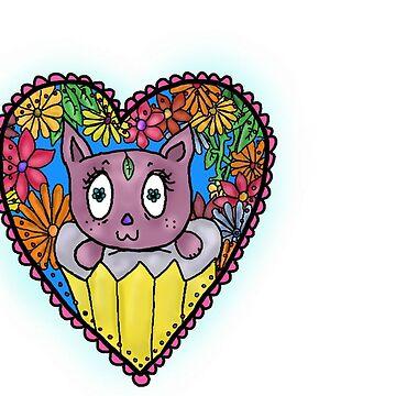 Cat living in an Exotic Cupcake/Heart by katrinahajowyj