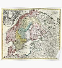 Old map of Scandinavia Poster