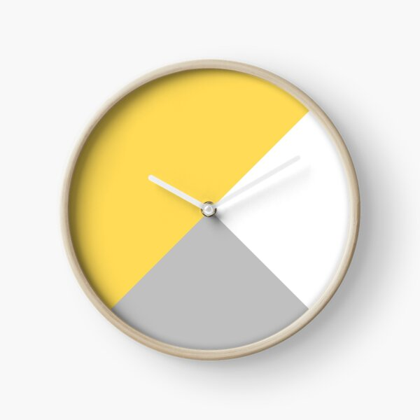 Tricolor Silver Gray Mustard Yellow And White III Clock