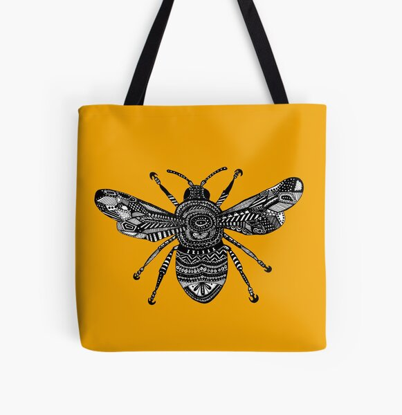 Yellow Bee  All Over Print Tote Bag