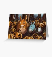 Totoros In A Pumpkin Patch Greeting Card