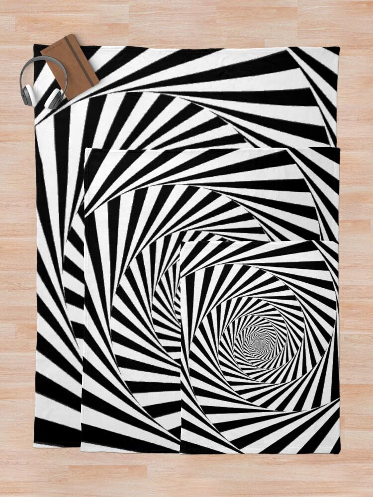 Alternate view of #Optical #Illusion #OpticalIllusion #VisualArt Black and White znamenski.redbubble.com Throw Blanket