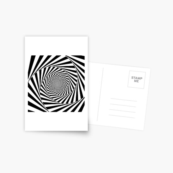 #Optical #Illusion #OpticalIllusion #VisualArt Black and White znamenski.redbubble.com Postcard