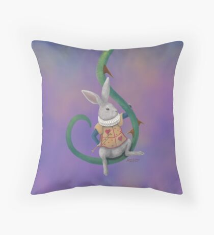 White Rabbit with Rose Thorns - Square Image Throw Pillow