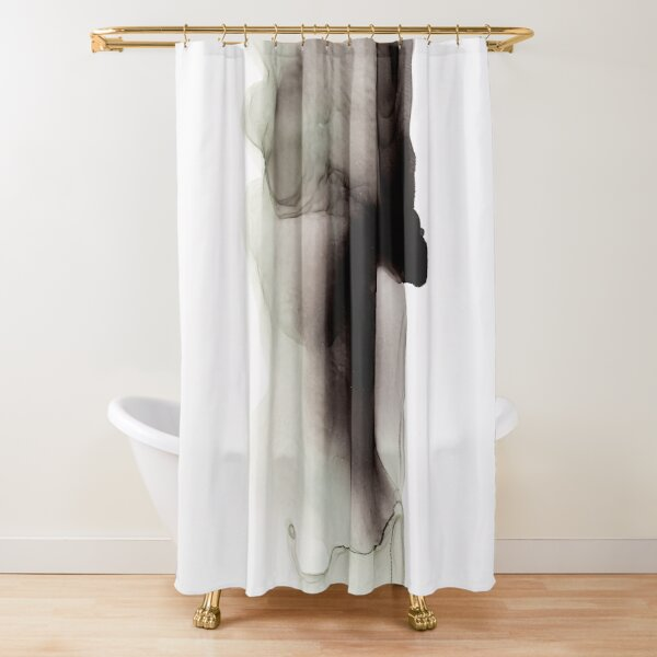 Black Ink Abstract Painting Shower Curtain
