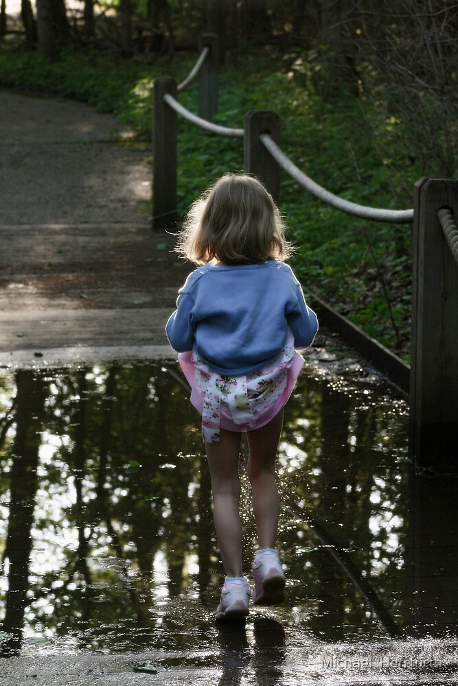 Tippy Toes Through Puddle by Michael  Herrfurth