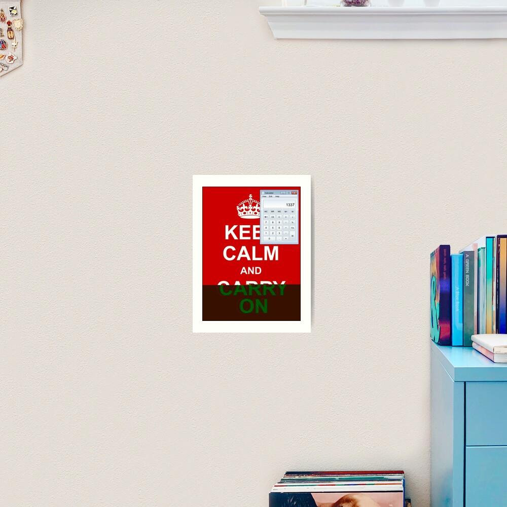 Keep calm and (real glitch) Art Print