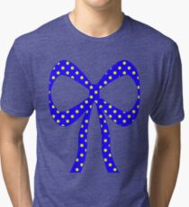 Blue With Yellow Polka Dots Tri-blend T-Shirt