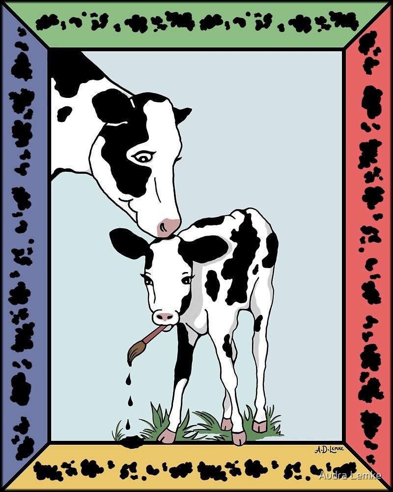 Cow Artist, Cow Art by Audra Lemke